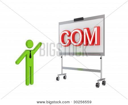 3d small person with a flipchart and big word COM.