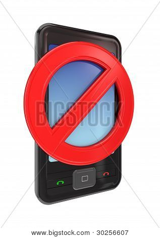 Modern mobile phone with a red stop sign.