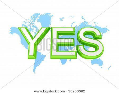 Palavra verde sim e o mapa do mundo.