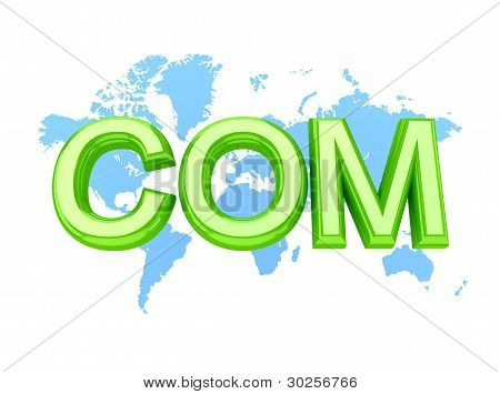 Green word COM and world's map.