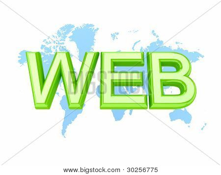 Green word WEB and world's map.