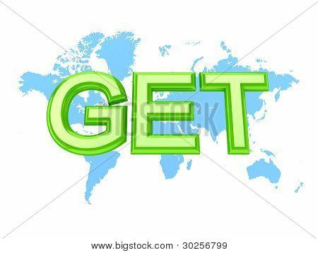 Mapa do mundo e a palavra verde chegar.