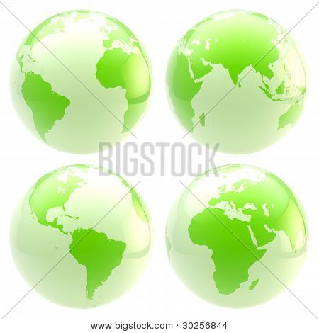 Eco green planet: set of four glossy globes