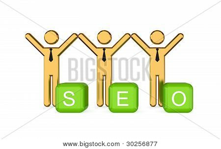 Small people and word SEO.