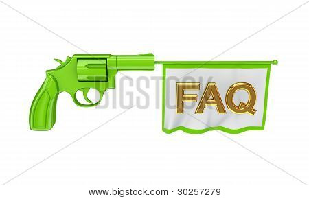 Green revolver shooting a bunner with word FAQ.