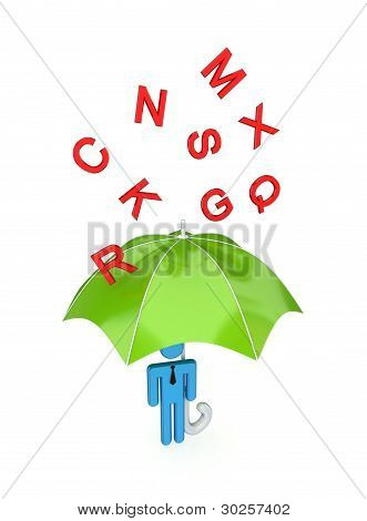 big umbrella under the rain of letters.