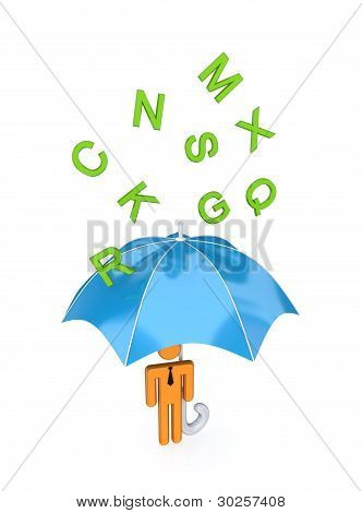 big umbrella under the rain of letters.