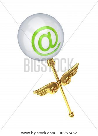 Magic wand with email symbol.