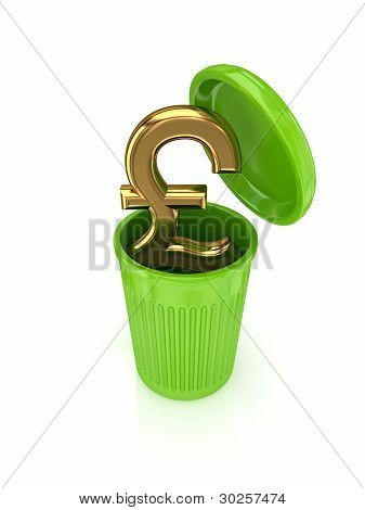 Golden pound sterling sign in a green recycle bin.