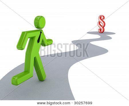 3D pequena pessoa executando ao sinal de parágrafo.