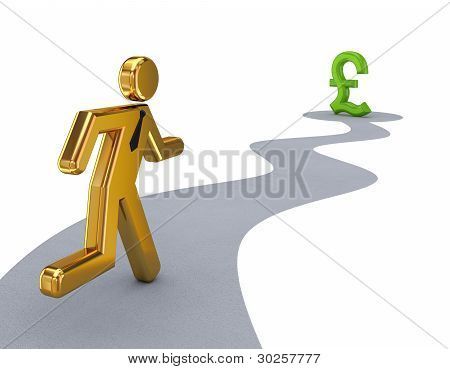 3d small person running to a pound sterling sign.