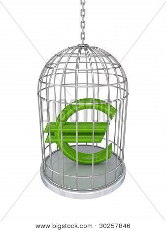 Euro sign in a birdcage.