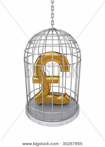 Pound sterling sign in a birdcage.