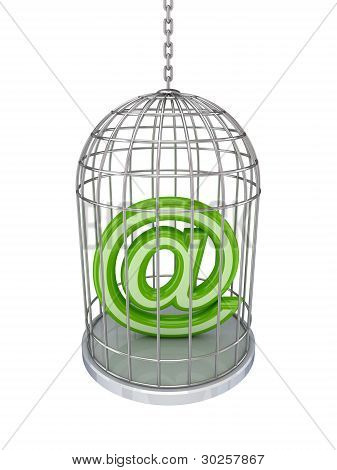 Email sign in a birdcage.
