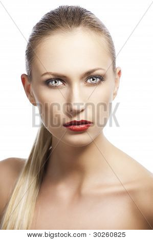 Beauty Woman Over White, She Looks In To The Lens