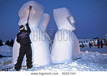 Snow Sculptor At Work