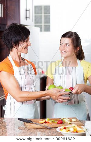 teen girl helping mother in home kitchen