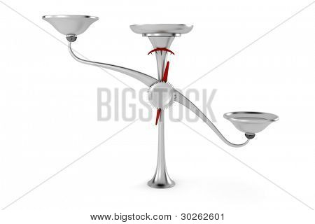 3d metal weigh scale on white background