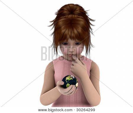 Menina segurando o planeta terra com uma expressão em causa no rosto