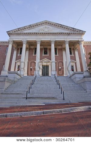 The north entrance of the Maryland State House in Annapolis, MD. where the Maryland General Assembly convenes for three months a year.