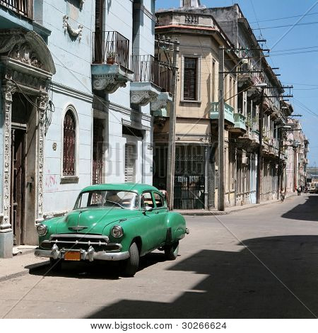 HAVANA - 27 MARCH: Vintage car in Cuba, Havana, March 27, 2007. October 2011, Cuban people finally got the right to trade on buying and selling cars. Ban on trade with cars was introduced in 1959.