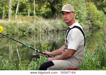 Man fishing in stream