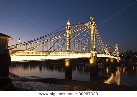 Albert Bridge, Chelsea over River Thames, London