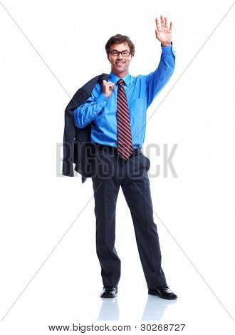 Executive happy businessman. Isolated on white background.
