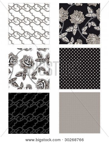 Create great textile projects with these repeat seamless vector floral patterns. Use for patchwork pieces or pillows.