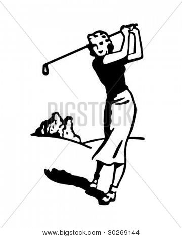 Woman Golfer 4 - Retro Clipart Illustration