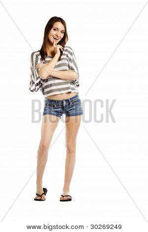 Young Woman Wearing Sexy Jeans Shorts