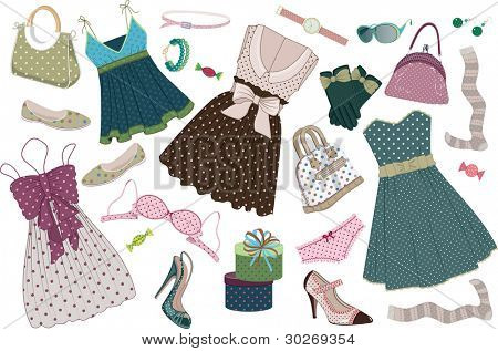 Illustration of various  women's clothing, shoes and accessories in polka-dots  isolated on white background