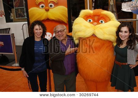 LOS ANGELES, CA - FEB 19: Danny DeVito; Rhea Perlman; Lucy DeVito at the 'Dr. Suess' The Lorax' premiere at Universal Studios Hollywood on February 19, 2012 in Los Angeles, California