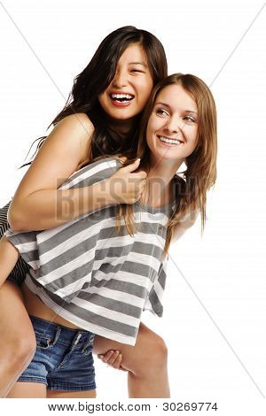 Young Woman Enjoying A Piggyback Ride