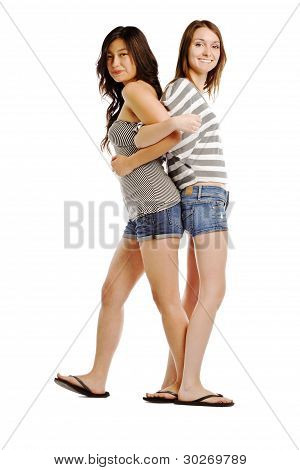 Back To Back Image Of Two Young Caucasians On White