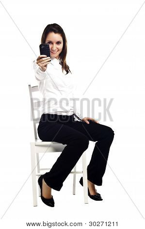Pretty Young Business Woman Gesturing To Take Picture