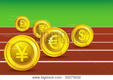 illustration of different currency racing on track