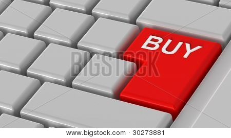 Buy now - red key computer keyboard. Computer generated 3D photo rendering.