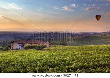 View hills and vineyards under beautiful colorful evening sky in Piedmont, Northern Italy.