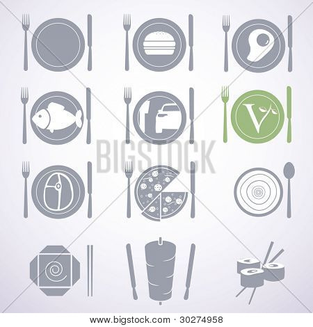 Collection of stylish food signs for different types of restaurants and fast foods.