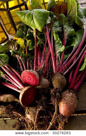 Organic Beetroot On Wood Table