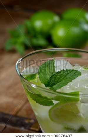 Mojito Cocktail With Limes In The Background