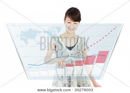 Beautiful business woman touch on screen.