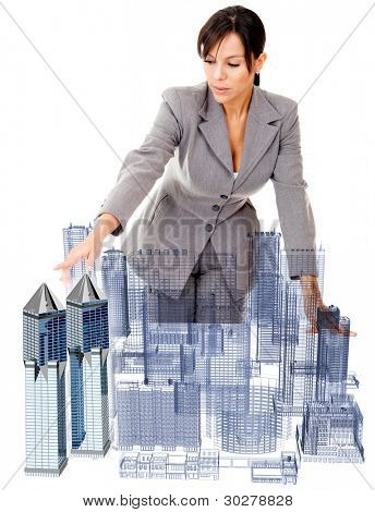 Female architect with a model - isolated over a white background