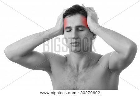 Man With Headache On White Background