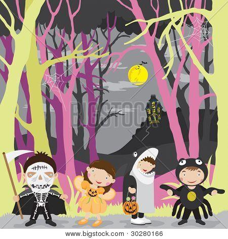 Happy Halloween Night and Kids Costume