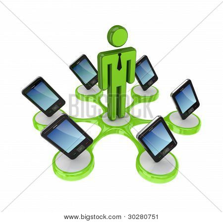 Modern mobile phones around 3d small person.