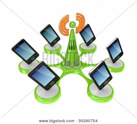 Modern mobile phones around cell tower.