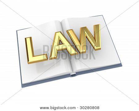 Livro aberto com ouro palavra lei.