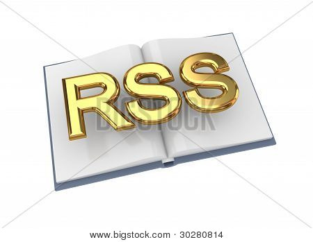 Opened book with golden word RSS.